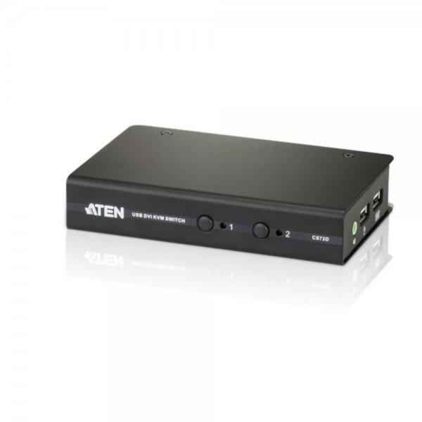 ATEN CS72D 2-Port USB DVI Audio Slim-KVM-Switch Desktop Schwarz