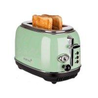 KORONA 2-Scheiben-Toaster Mint-Grün Vintage-Design Retro-Optik Brötchenaufsatz Auftaufunktion
