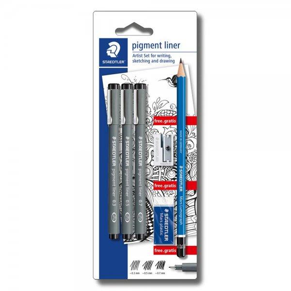 STAEDTLER pigment liner 308 3x pigment liner 1x Radierer 1x Spitzer 1x Bleistift