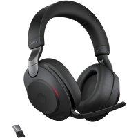 Jabra Evolve2 85 Wireless Headset mit Ladestation Noise Cancelling Kopfhörer USB-A Bluetooth schwarz