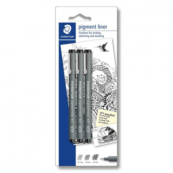 STAEDTLER pigment liner 308 Blisterkarte 3 pigment liner schwarz Fineliner Set