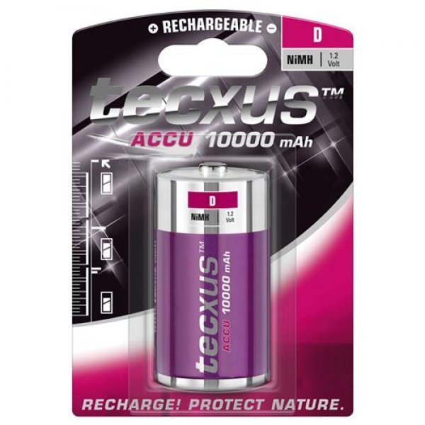 Tecxus 23741 Akku Batterie NiMh Mono D 1,2V 10000 mAh 1er Blister aufladbar