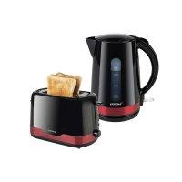 KORONA Küchenset / Frühstücksset Design Rot/Schwarz Toaster, Wasserkocher