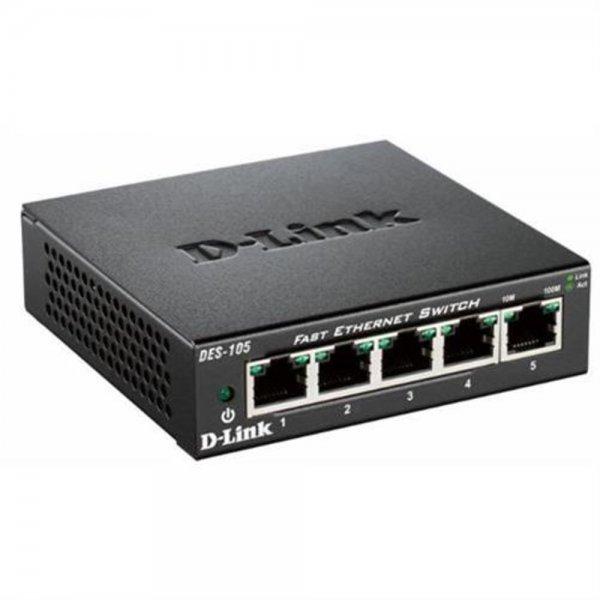D-Link DES-105 5-Port Layer2 Fast Ethernet Netzwerk Switch 10/100Mbps LAN RJ-45
