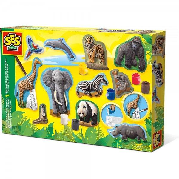 SES Creative Relief gießen Safari Tiere Gips gießen Bastelset Kreativset