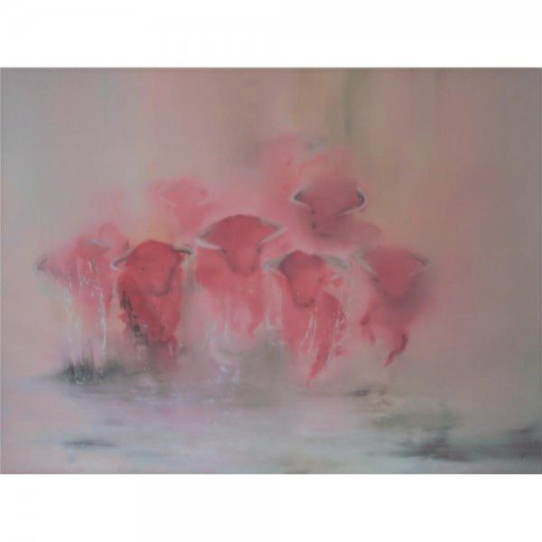 ÖL auf Leinwand 80 x 60 cm - Rote Bullen - Limitierte Auflage signiert