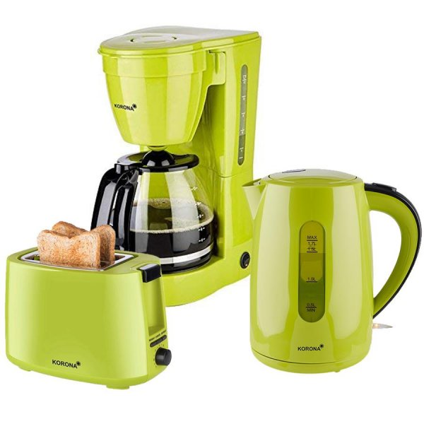 KORONA 3in1 Küchen-Set Frühstücks-Set Kaffemaschine Toaster Wasserkocher Grün