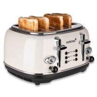 KORONA 4-Scheiben-Toaster Creme-Beige Vintage-Design Retro-Optik Brötchenaufsatz Auftaufunktion