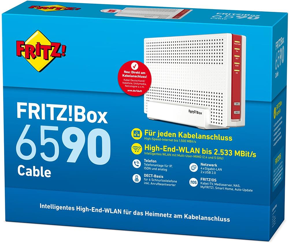 AVM FRITZ!Box 6590 Cable Modem MIMO WLAN AC+N Kabel Router 1733 + ...