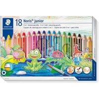 Staedtler 140 C18 3in1 Buntstift Noris junior (Bunt-,Wachsmal- und Aquarellstift, extra bruchsicher, ideal für Kinder, für viele Oberflächen, Kartonetui mit...