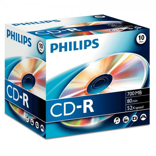 Philips CR7D5NJ10/00 10 x CD-R - 700 MB ( 80 Min ) Rohlinge 52x - Jewel Case