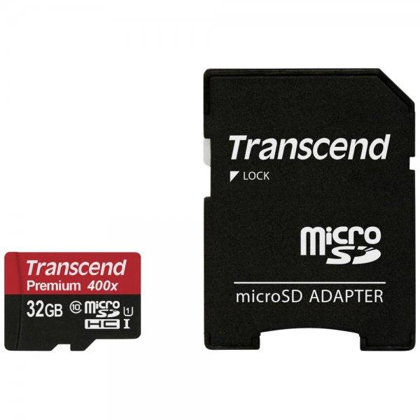 Transcend microSDHC 32GB Class 10 UHS-I 400x SD Adapter