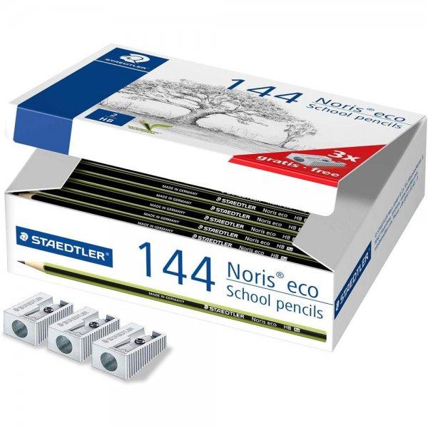 STAEDTLER Noris eco 180 30 Klassensatz 144 Bleistiften HB 3 Metallspitzer Set
