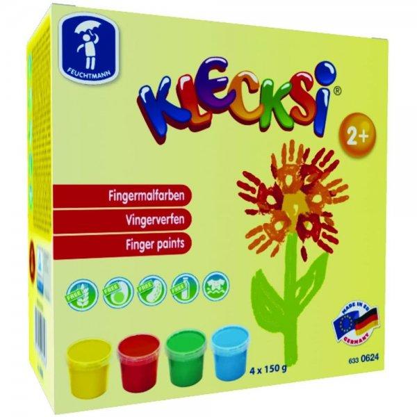 Feuchtmann Spielwaren 6330624 - KLECKSi 4 Dosen á 150 g hochwertige Fingermalfarben