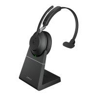 Jabra Evolve2 65 MS Mono Kopfhörer Headset mit Ladestation Noise Cancelling USB-A Bluetooth Schwarz