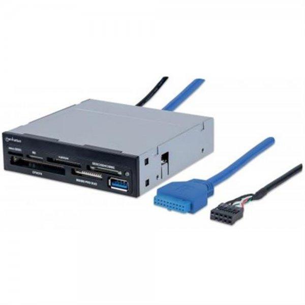 """MANHATTAN Multi-Card Reader/Writer Schwarz USB 3.0 3,5""""-Einbau 48-in-1"""