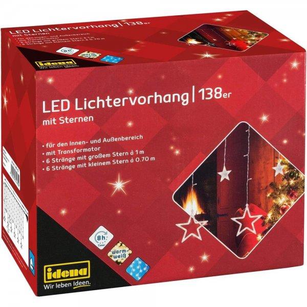 Idena 31485 - LED Lichtervorhang mit 12 Sternsträngen, 138 LED in warm weiß, 8 Stunden Timer Funktio