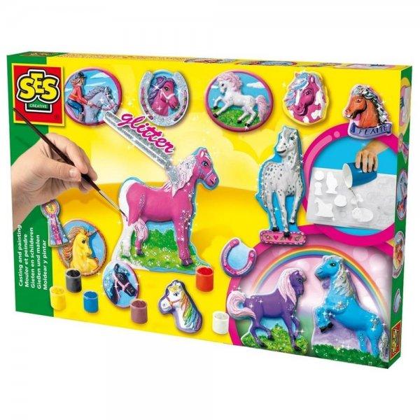 SES Creative Pferde gießen und anmalen Set Gips Gipsgießen Bastelset Kreativset