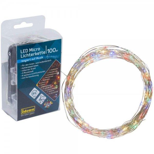 Idena 30190 LED Micro Lichterkette mit 100 LED in bunt und 12 Lichtfunktionen, blinkt rhythmisch zu
