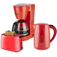 KORONA Küchenset / Frühstücksset Design Rot Kaffeemaschine Wasserkocher Toaster